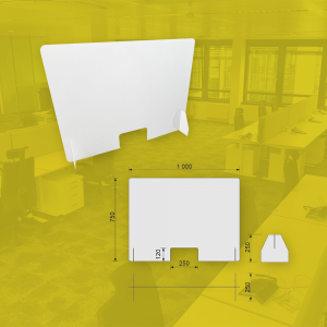 Bureauschermen plexiglas voor op je bureau met alu voetje -vloersticker - afstand houden - producten tegen corona